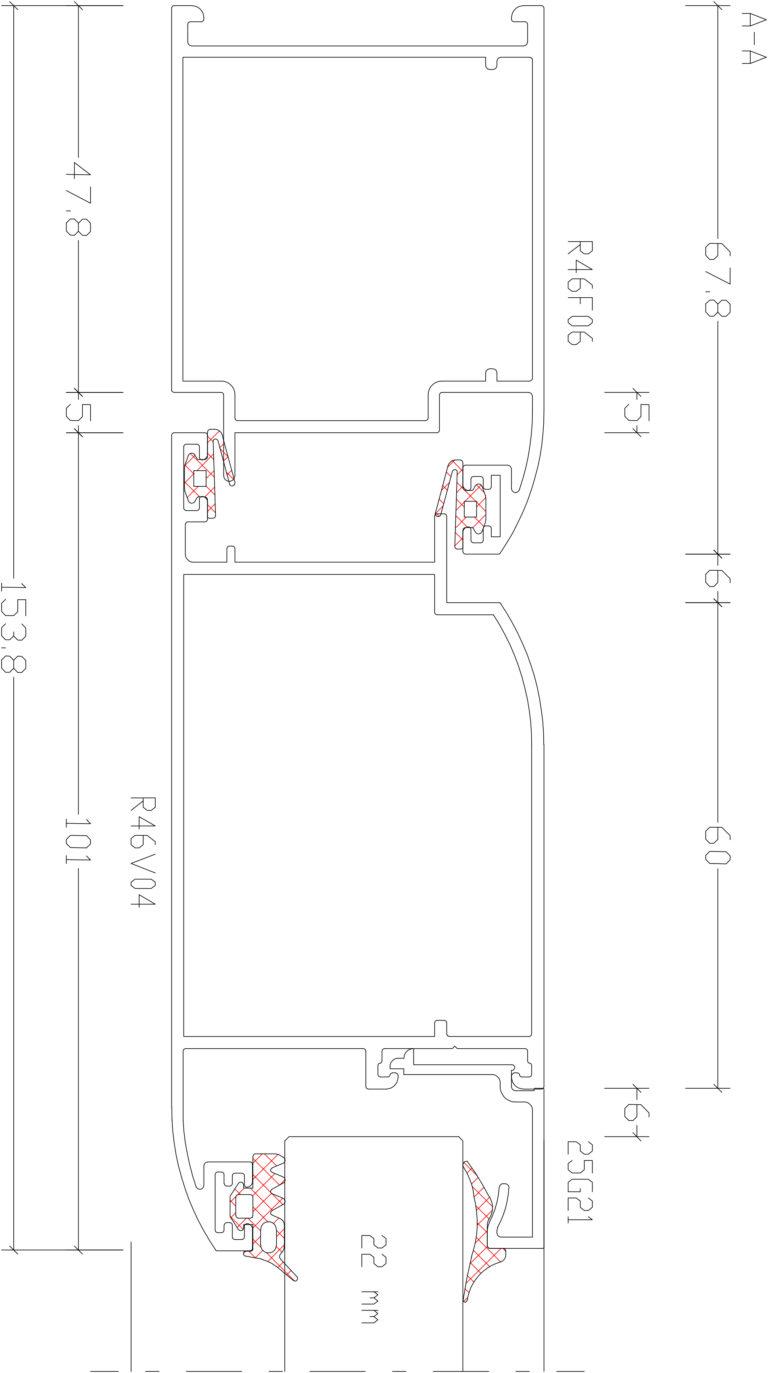 RW46 Rescara | Креслення. Перетин дверей системи